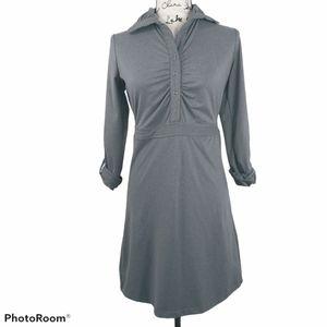 TEHAMA Athletic Roll Sleeve Gray Button Dress